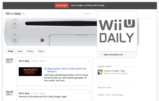 Wii U Daily Google plus