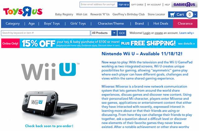 Toys R Us Wii U