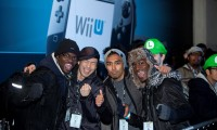 Nintendo fans brave the winter weather to be first in the queue outside HMV Oxford Street in central London for 6 days for the launch of Wii U, the latest home console from Nintendo. L-R Michael Djuma, Sing Duong, Izzy Rahman and Teddy Djuma.PRESS ASSOCIATION Photo. Picture date: Thursday November 29, 2012. Photo credit should read: David Parry/PA