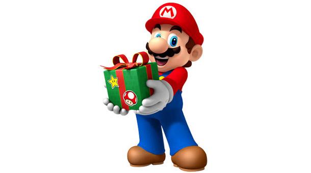 Mario holding present.