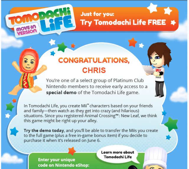 Tomodachi Life demo promo