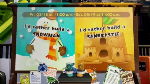 New Splatoon Splatfest is between Snowman and Sandcastle